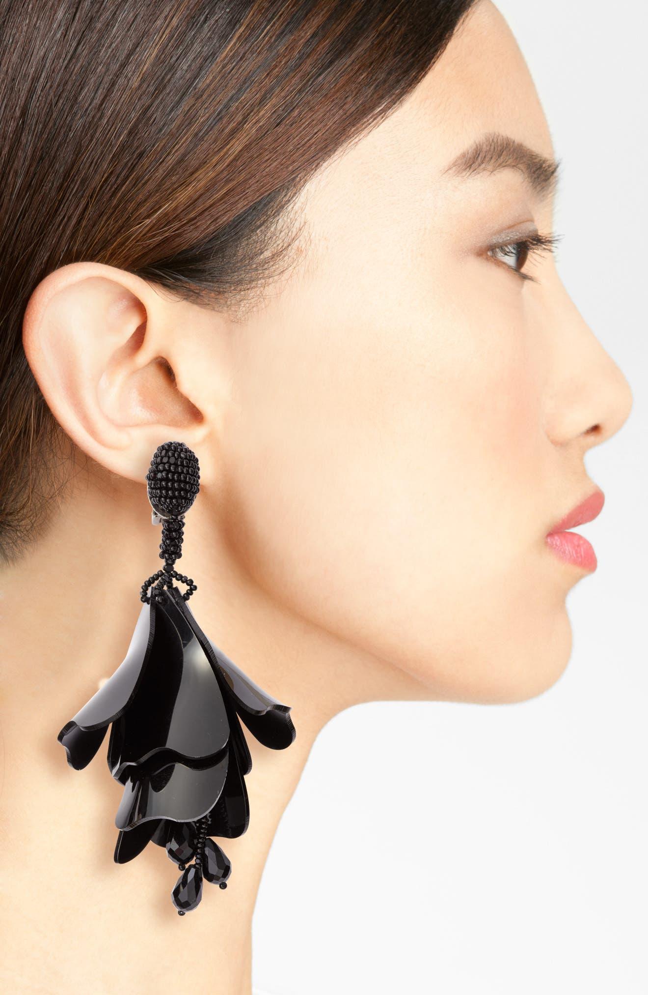 ,                             Large Impatiens Flower Clip Earrings,                             Alternate thumbnail 2, color,                             JET BLACK