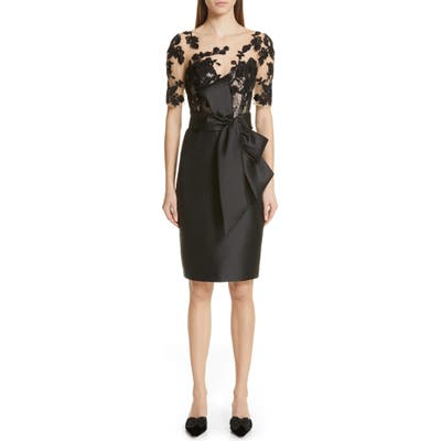Badgley Mischka Lace Accent Bow Cocktail Dress, Black