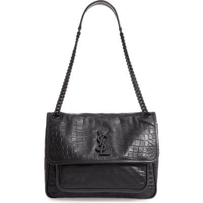 Saint Laurent Medium Niki Croc-Embossed Leather Shoulder Bag - Black
