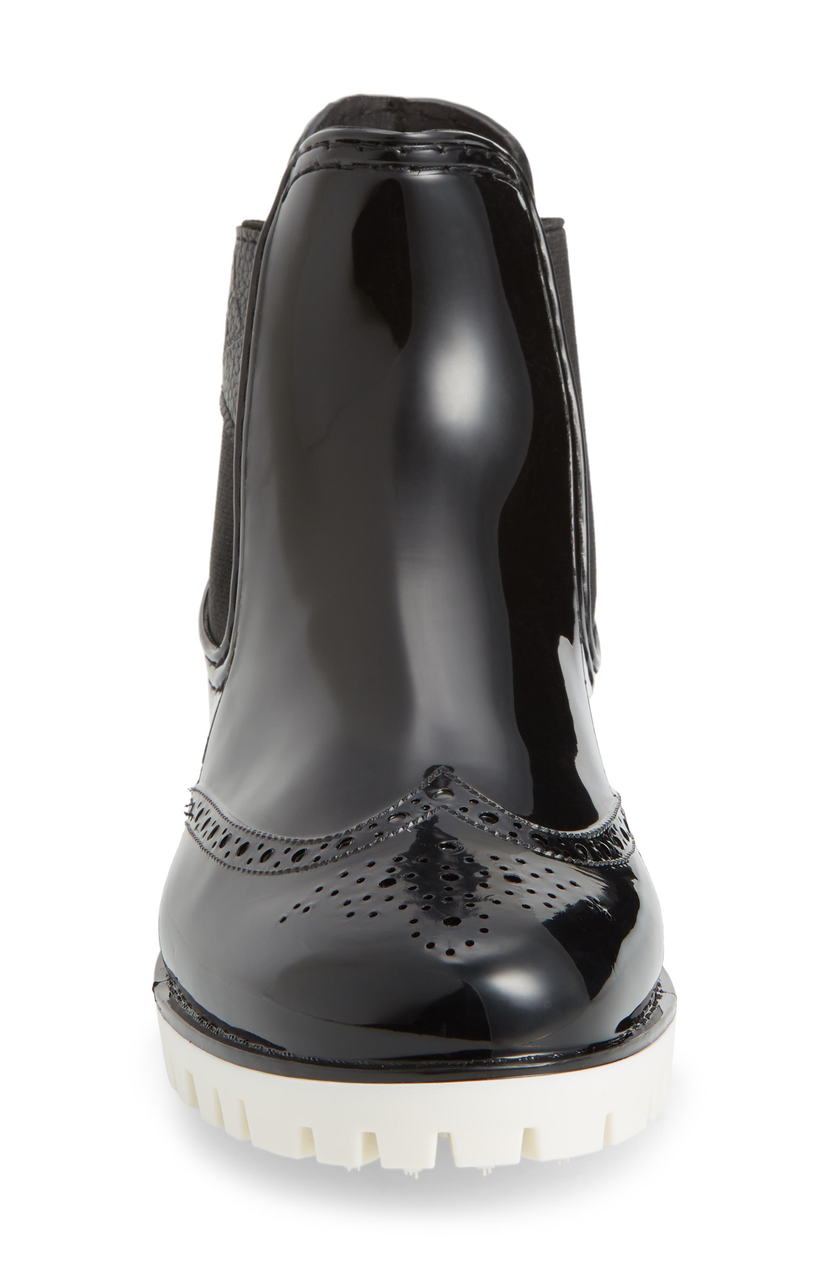 ,                             Leeds Brogue Rain Boot,                             Alternate thumbnail 4, color,                             BLACK