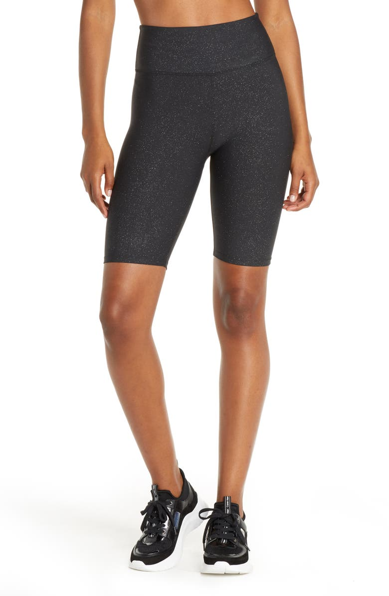 SOUL BY SOULCYCLE Glitter Bike Shorts, Main, color, BLACK