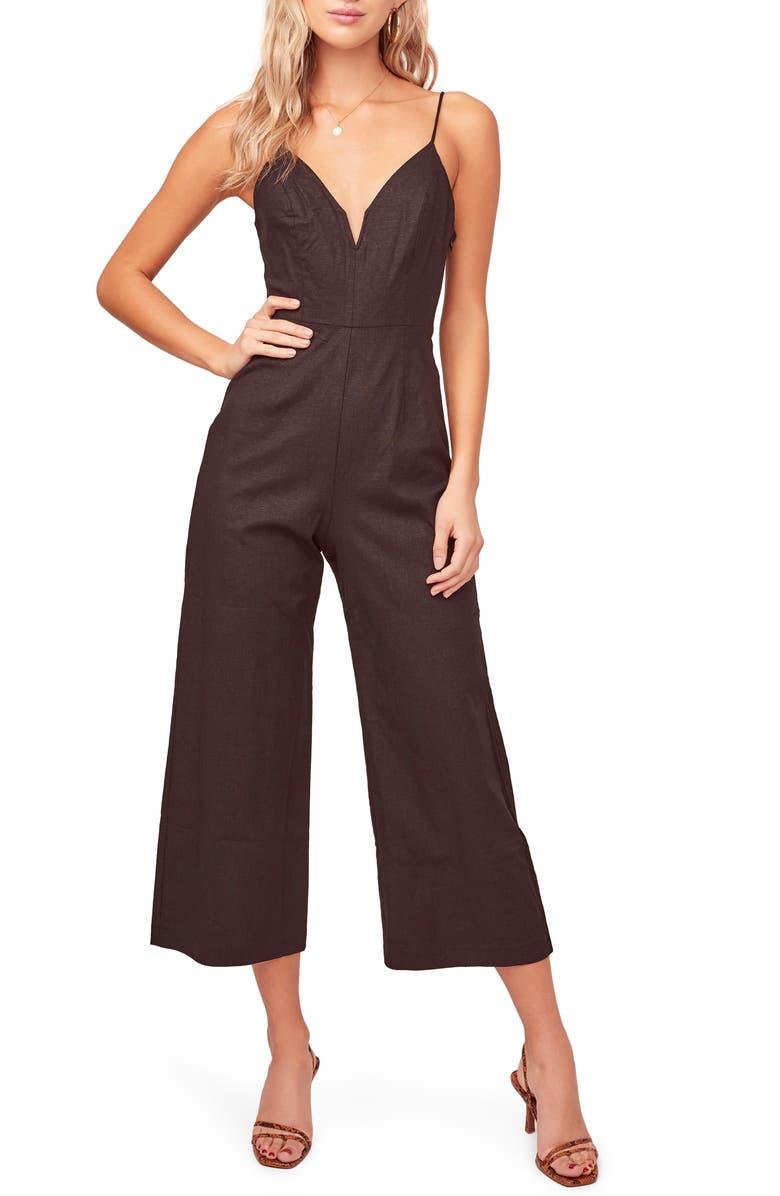 ASTR THE LABEL Izzy Notch Neck Crop Jumpsuit, Main, color, BLACK