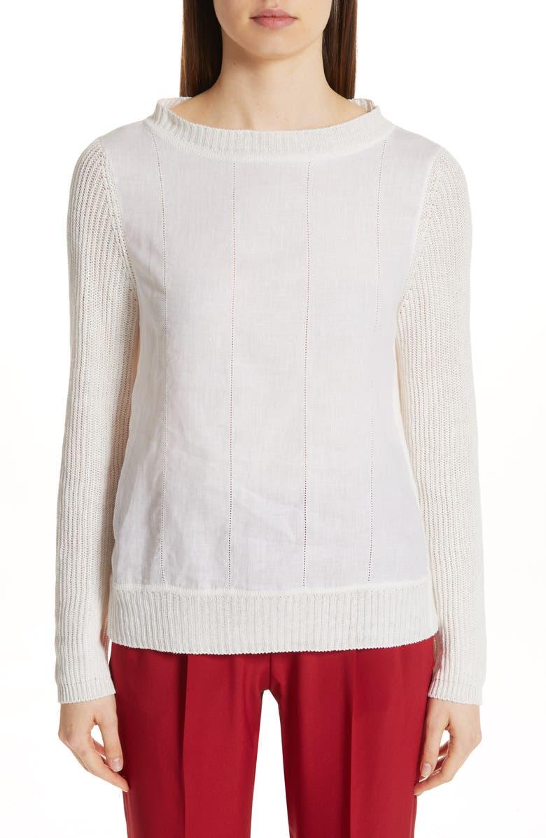 MAX MARA Darsena Mixed Media Sweater, Main, color, 100