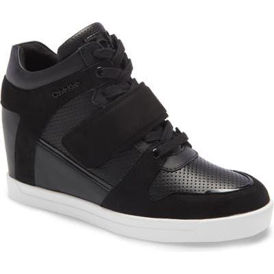 Calvin Klein Frances Wedge Sneaker, Black