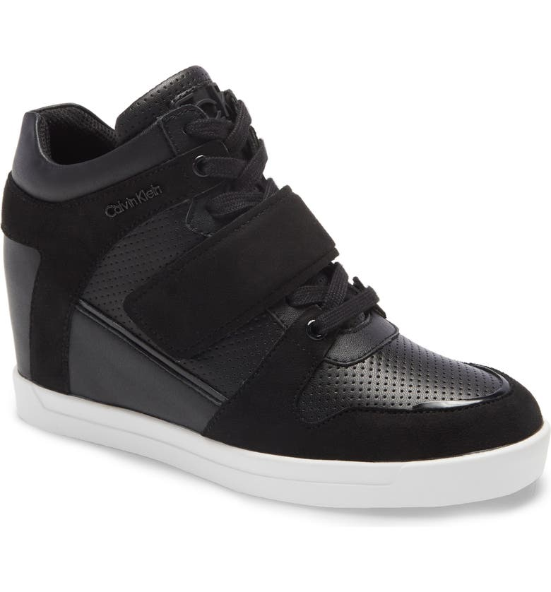 CALVIN KLEIN Frances Wedge Sneaker, Main, color, BLACK LEATHER