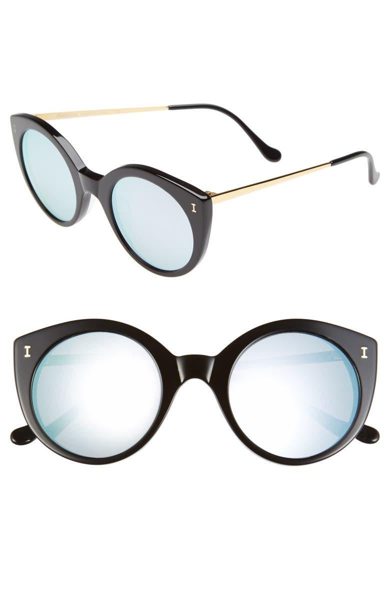 ILLESTEVA 'Palm Beach' 50mm Round Sunglasses, Main, color, 001