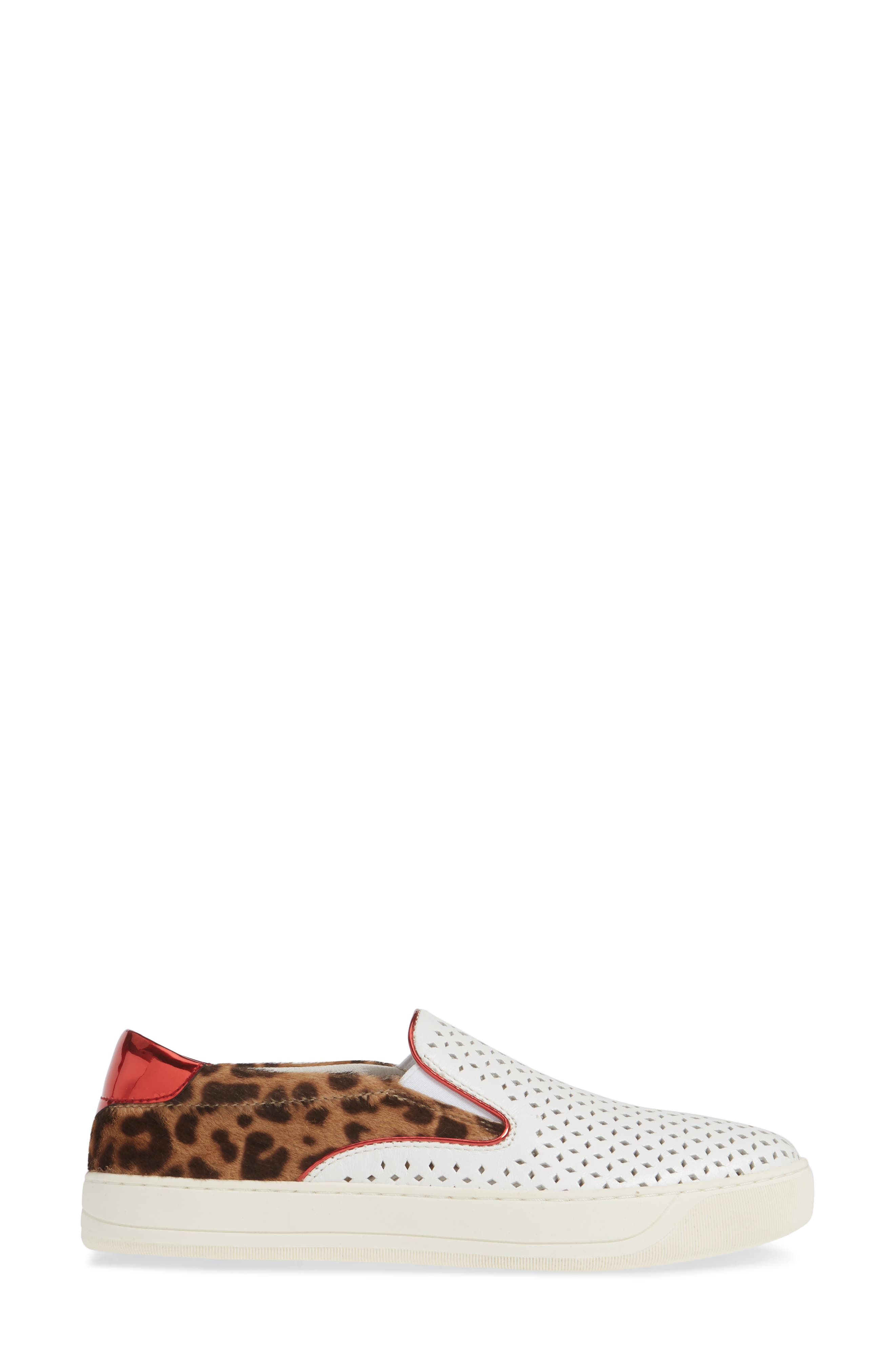 ,                             Elaine Perforated Genuine Calf Hair Slip-On Sneaker,                             Alternate thumbnail 3, color,                             WHITE LEATHER/ PRINT CALF HAIR
