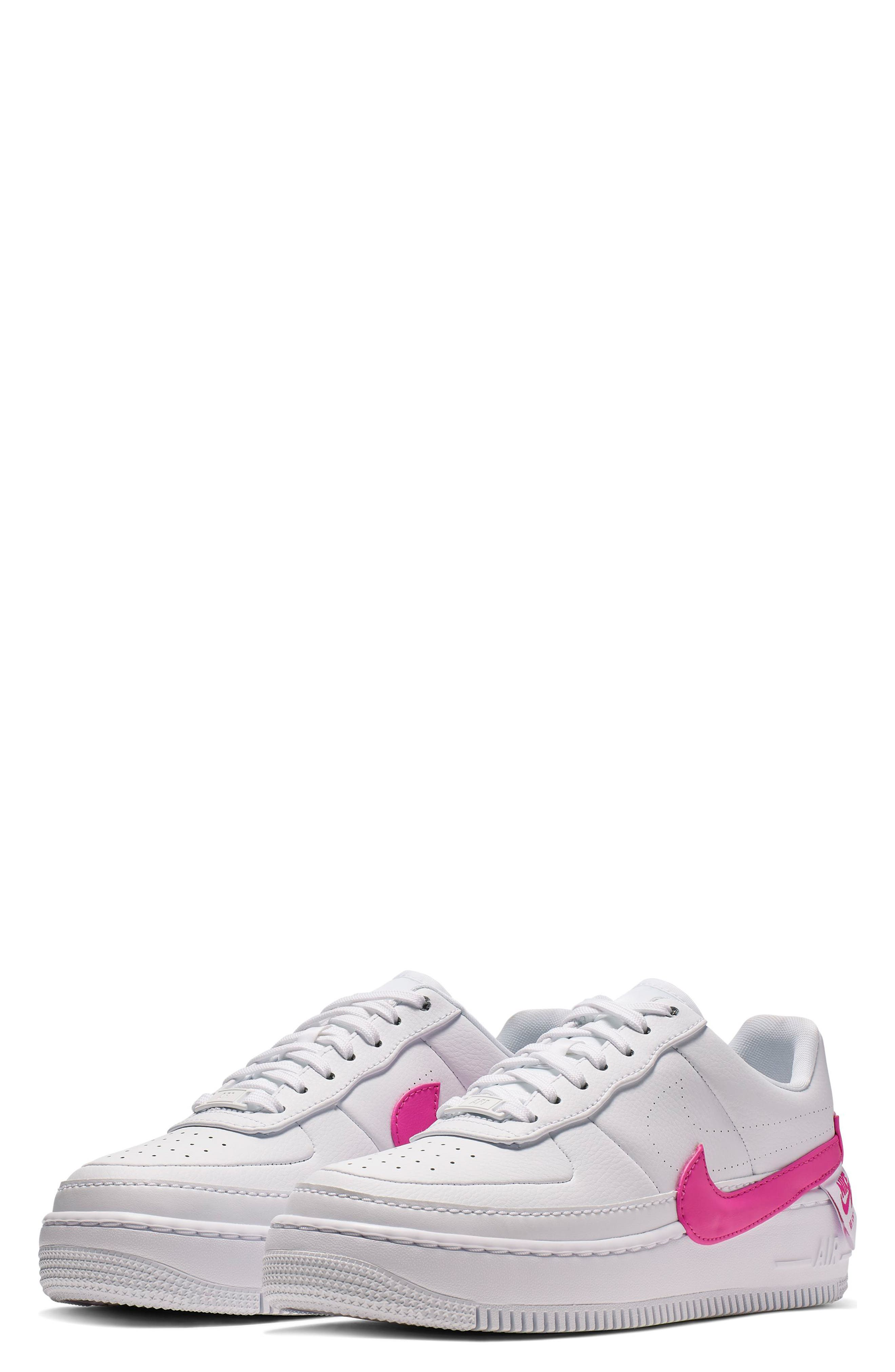 ,                             Air Force 1 Jester XX Sneaker,                             Main thumbnail 1, color,                             WHITE/ LASER FUCHSIA
