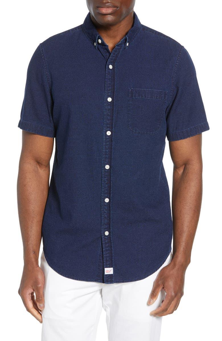 VINEYARD VINES Murray Slim Fit Indigo Dobby Shirt, Main, color, DEEP BAY