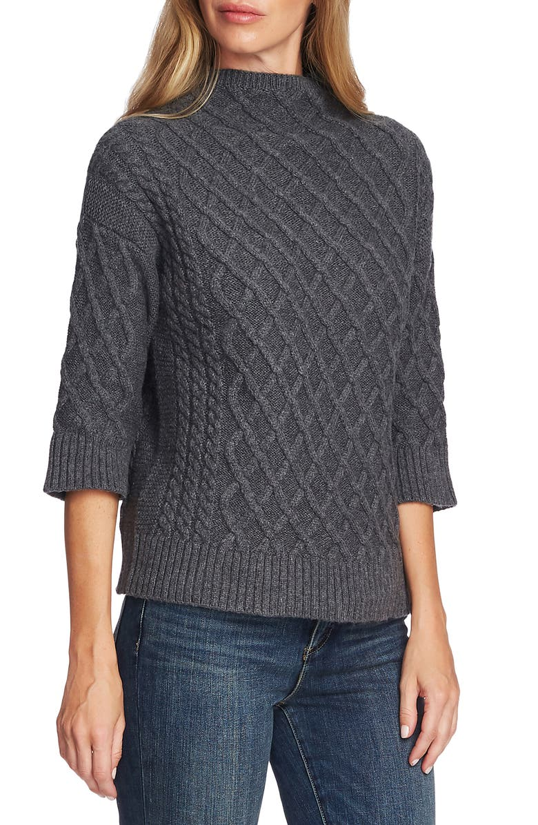 VINCE CAMUTO Chunky Cable Knit Funnel Neck Sweater, Main, color, MED HEATHER GREY