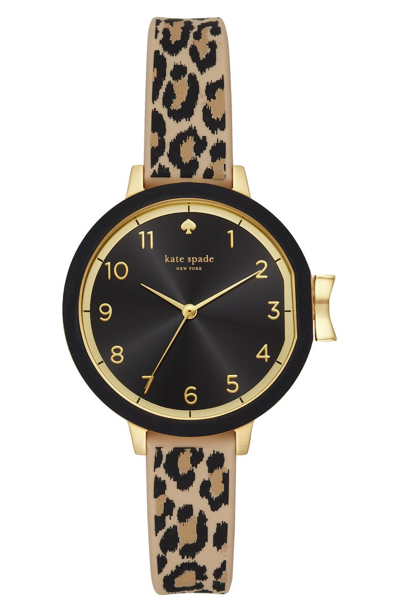 KATE SPADE NEW YORK park row silicone strap watch, 34mm, Main, color, LEOPARD/ BLACK/ GOLD