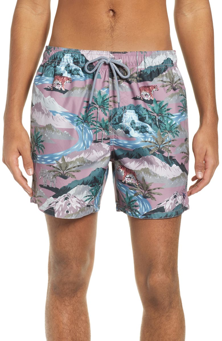 TED BAKER LONDON Tasmane Tiger Slim Fit Swim Trunks, Main, color, PINK