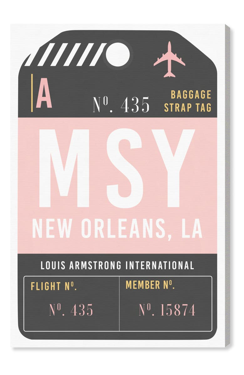 OLIVER GAL New Orleans Luggage Tag Wall Art, Main, color, PINK