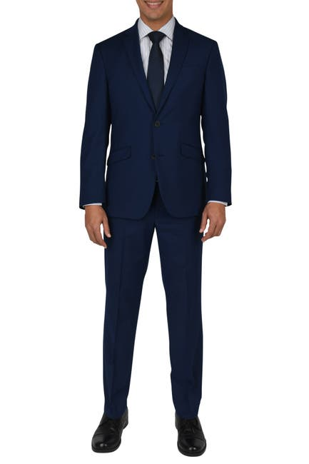 Image of Kenneth Cole Reaction Modern Blue Woven Two Button Notch Lapel Slim Fit Suit