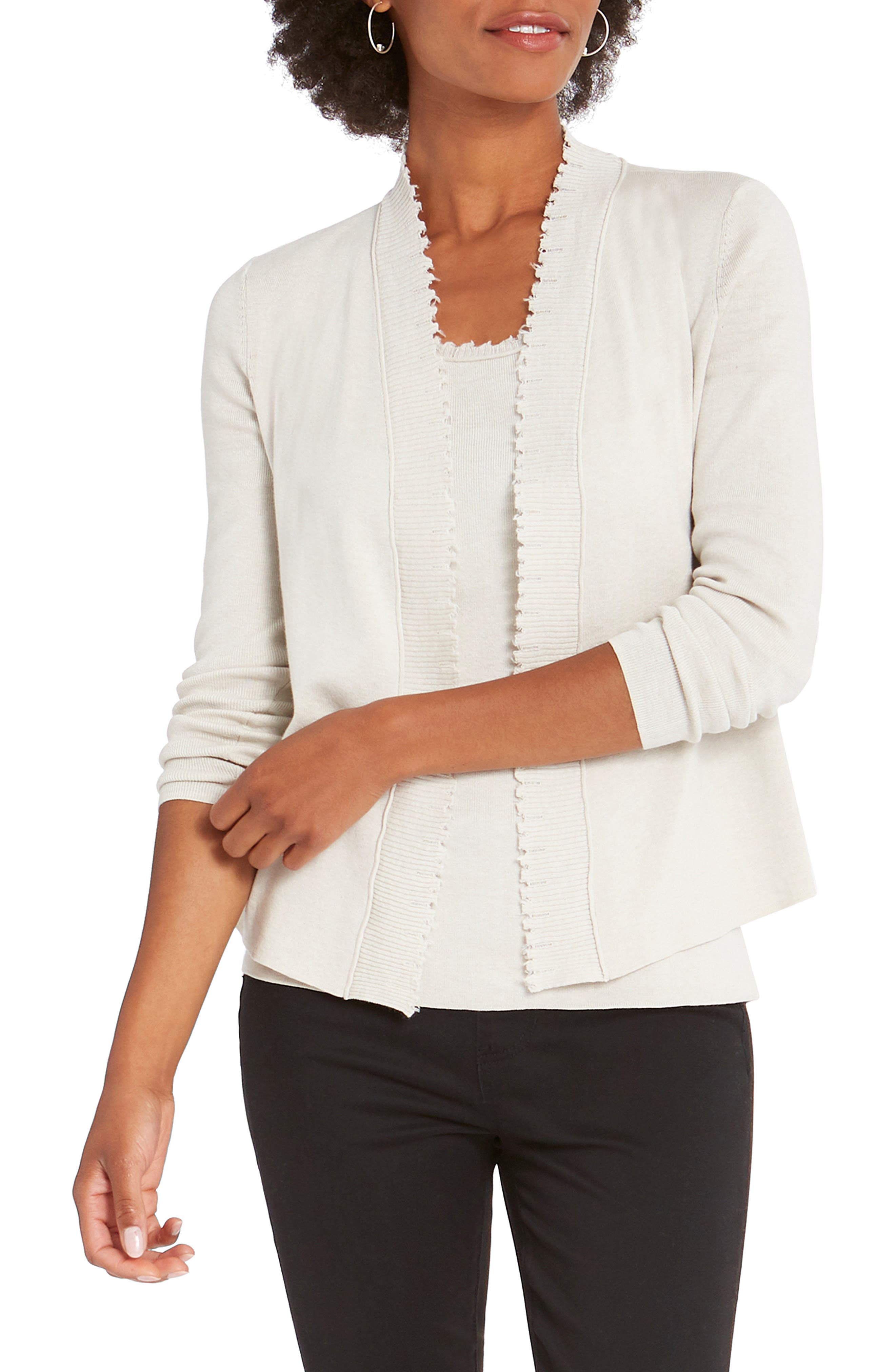 This lightweight, open-front layer is stylish and versatile with charming, raw-edge detailing. Style Name: Nic+Zoe Sweetheart Cardigan. Style Number: 6098402 1. Available in stores.