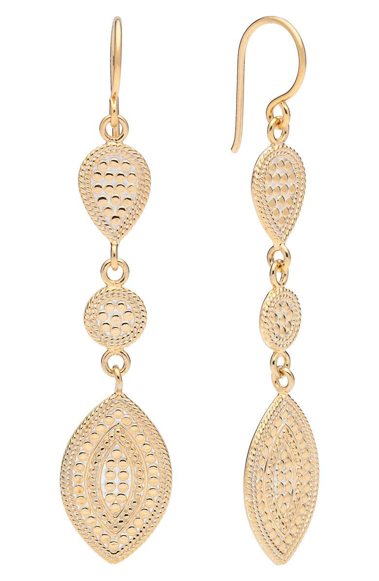 ANNA BECK Beaded Triple Drop Earrings, Main, color, GOLD