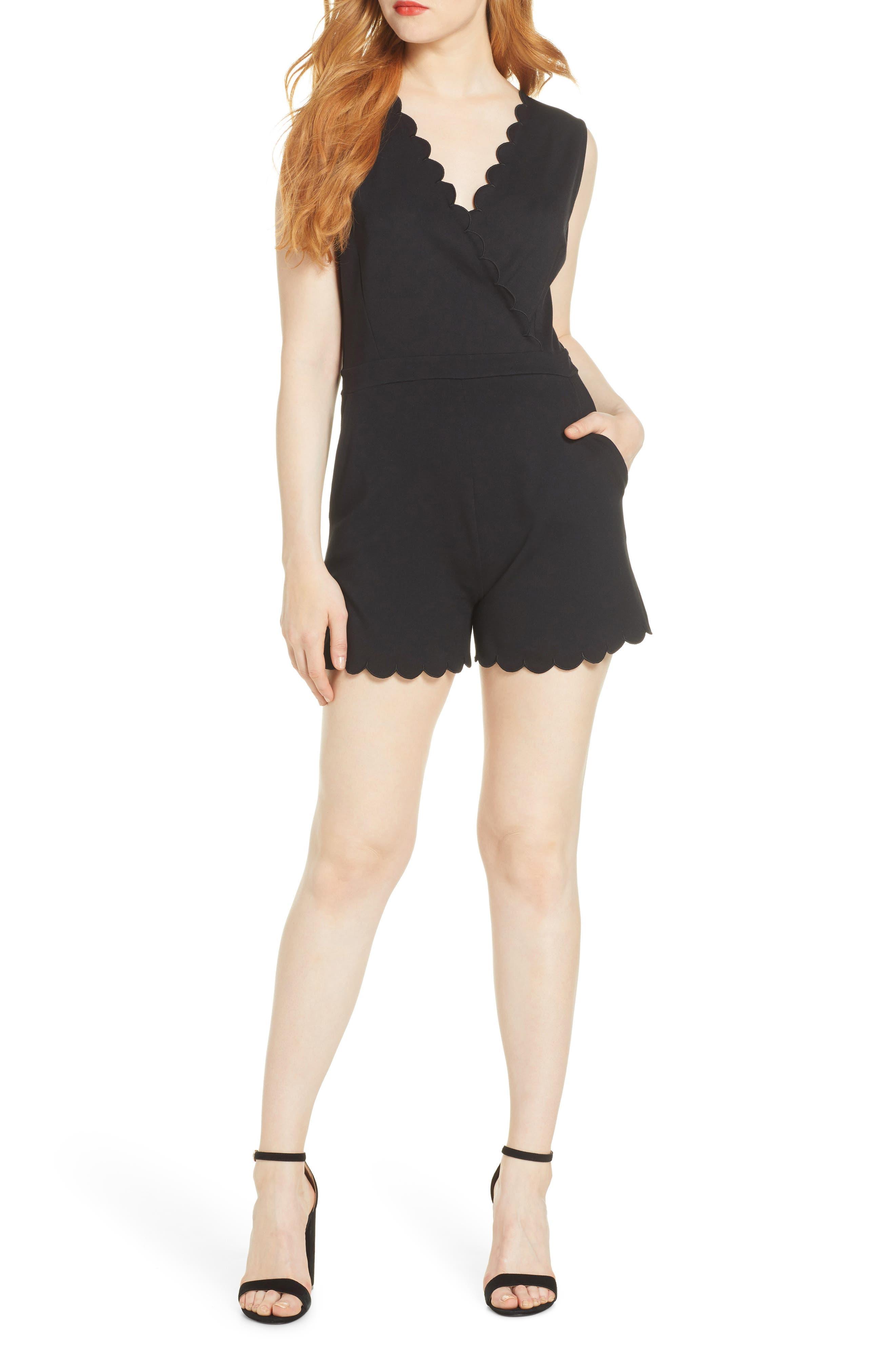 Lula Scallop Knit Romper, Main, color, BLACK