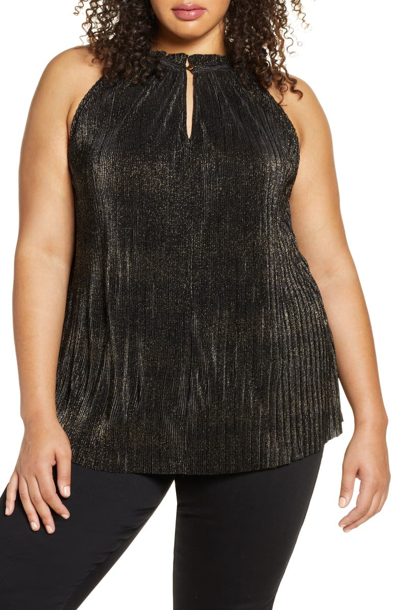 RACHEL RACHEL ROY Andy Metallic Halter Tank Top, Main, color, BLACK/ GOLD