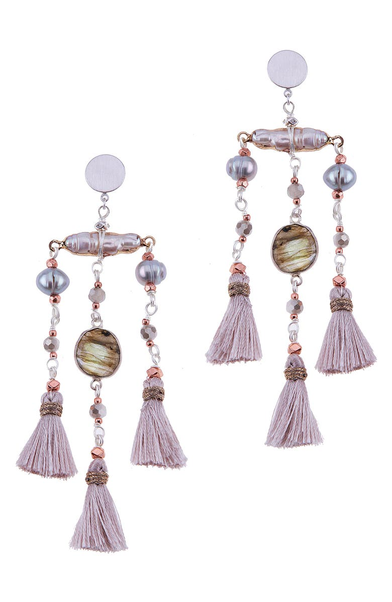 NAKAMOL CHICAGO Nakamol Design Labradorite & Freshwater Pearl Triple Mini Tassel Earrings, Main, color, 020