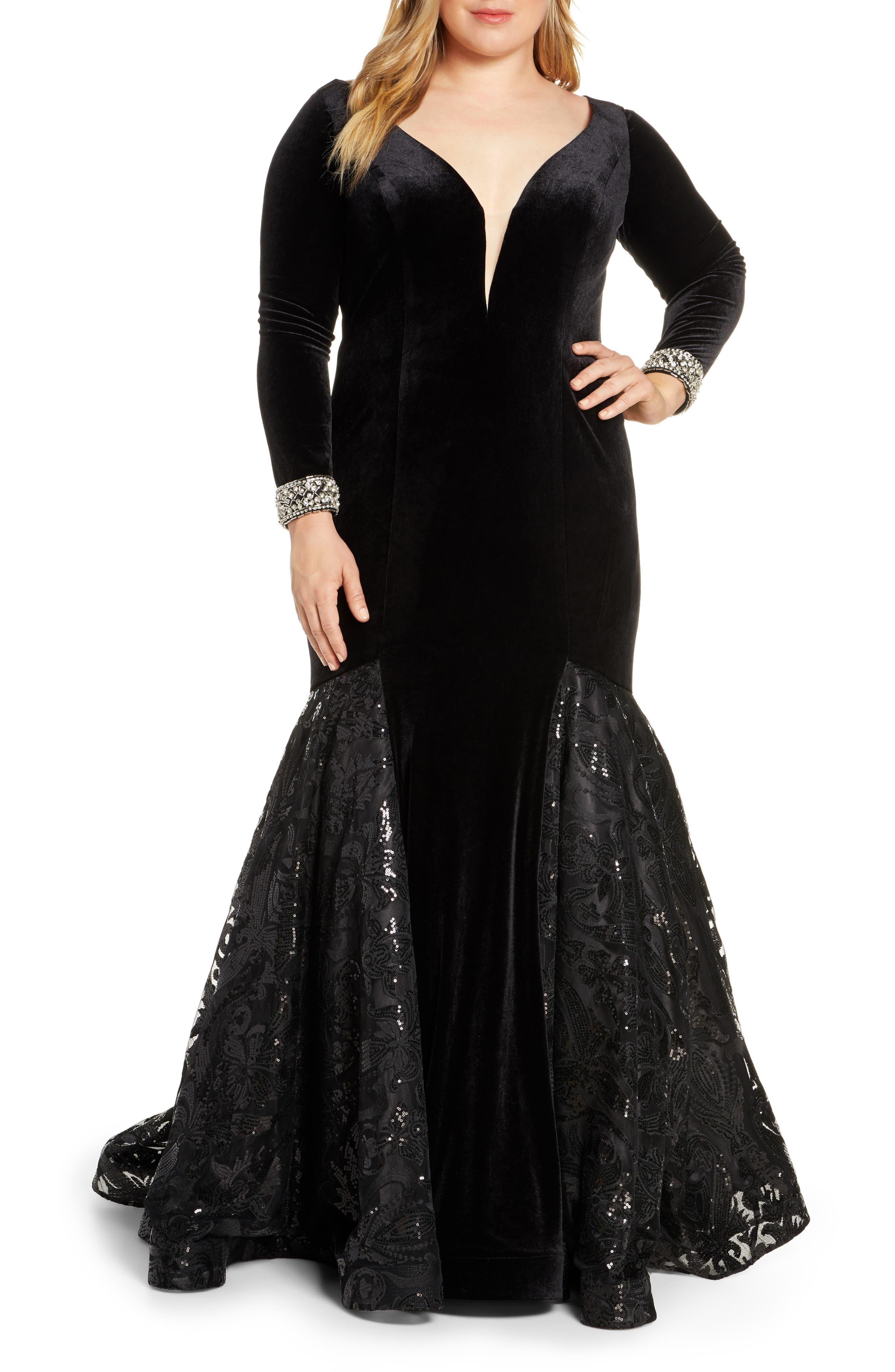 Plus Size MAC Duggal Long Sleeve Velvet Mermaid Gown, Black