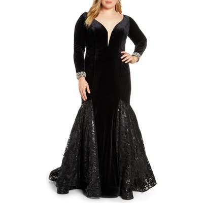 Plus Size MAC Duggal Long Sleeve Velvet Mermaid Gown, Black