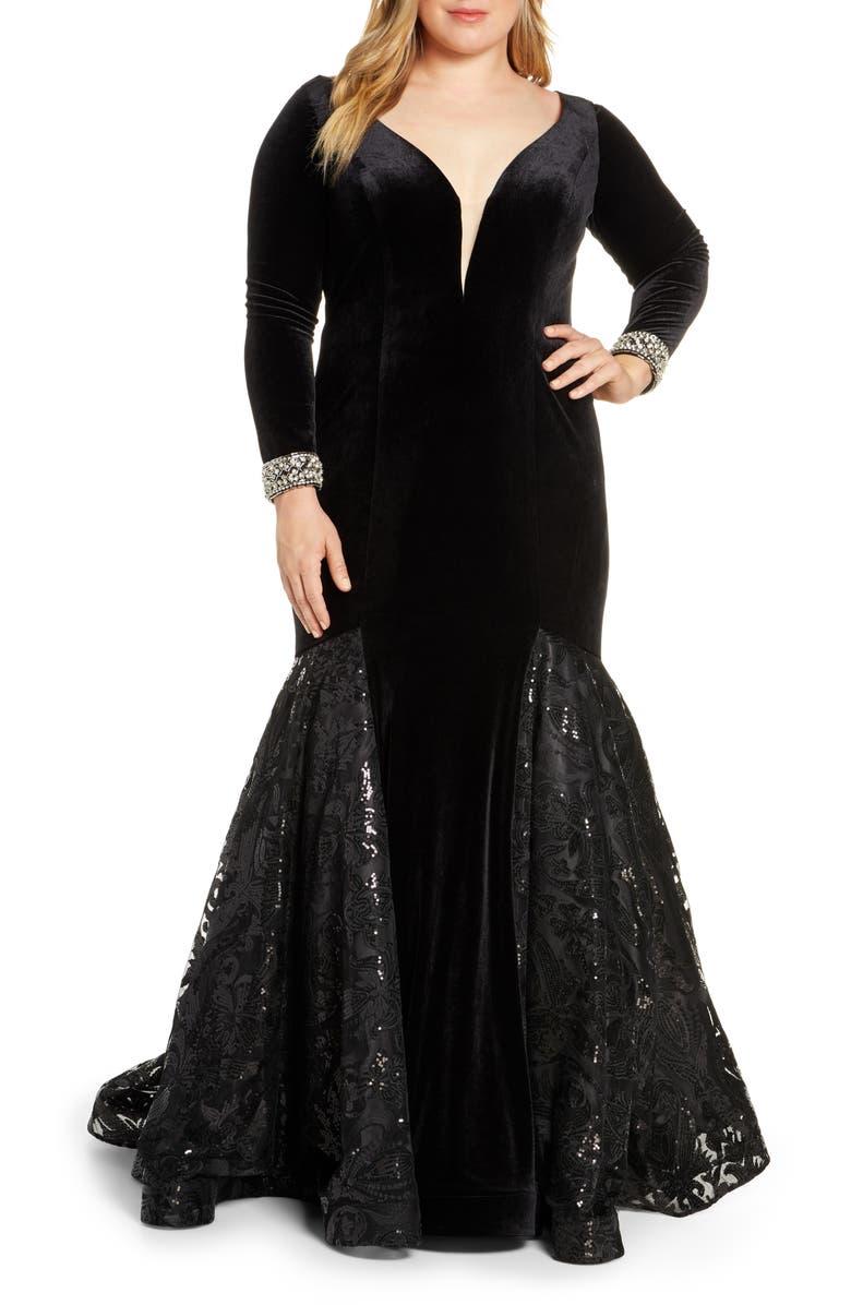 Mac Duggal Long Sleeve Velvet Mermaid Gown Plus Size