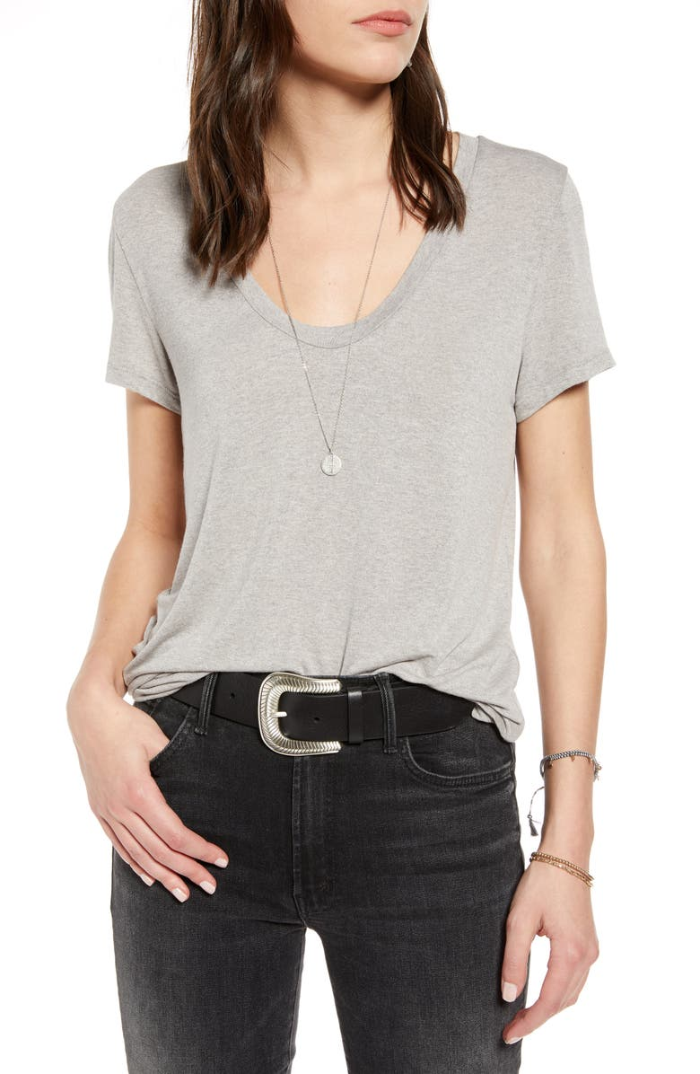 TREASURE & BOND Heathered U-Neck Tee, Main, color, GREY HEATHER