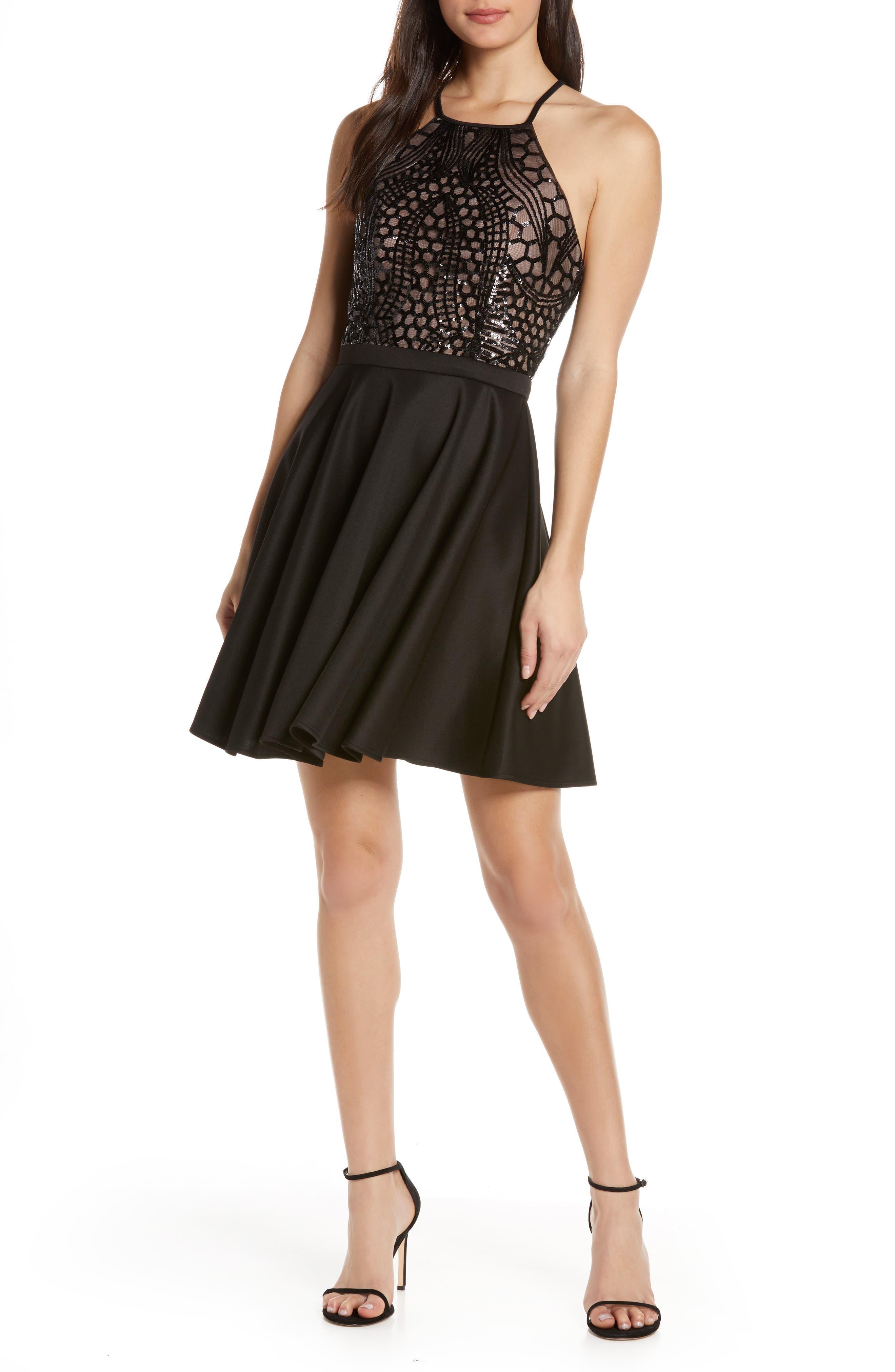 Morgan & Co. Strappy Lace & Sequin Bodice Party Dress, Black