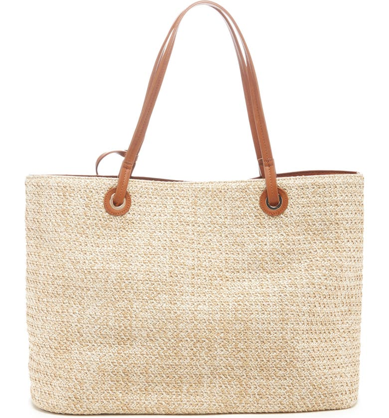 SOLE SOCIETY Apryl Woven Tote, Main, color, NATURAL COMBO