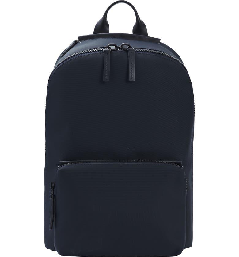 TROUBADOUR Nylon Backpack, Main, color, NAVY NYLON/ NAVY LEATHER