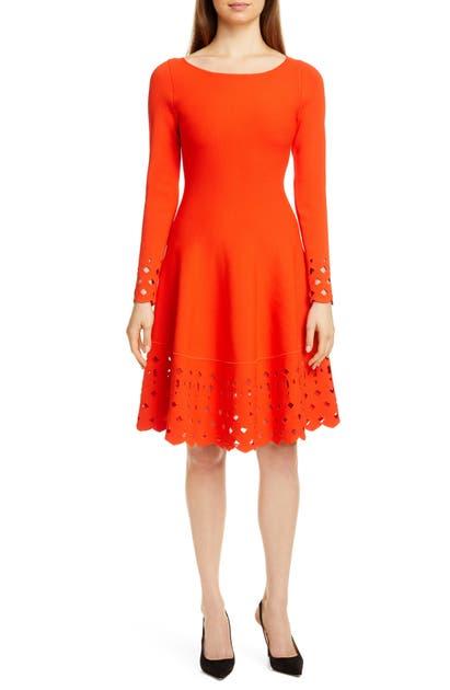 Lela Rose Dresses LATTICE TRIM LONG SLEEVE FIT & FLARE SWEATER DRESS