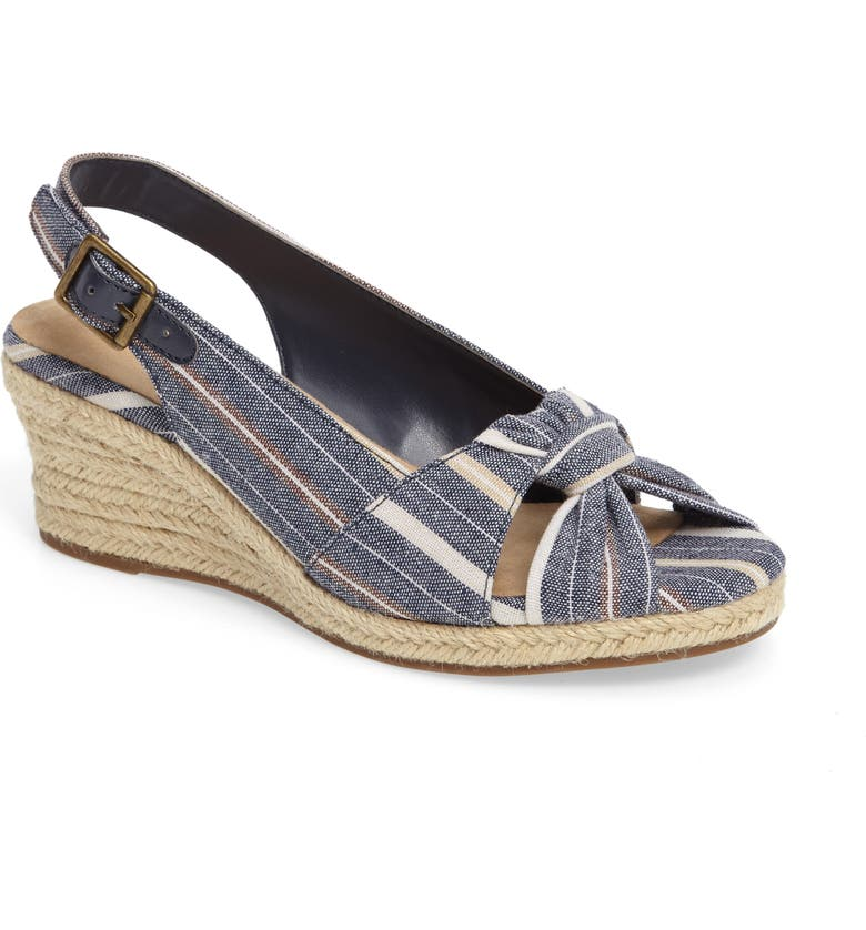 BELLA VITA Seraphina II Espadrille Wedge Sandal, Main, color, NAVY STRIPE FABRIC