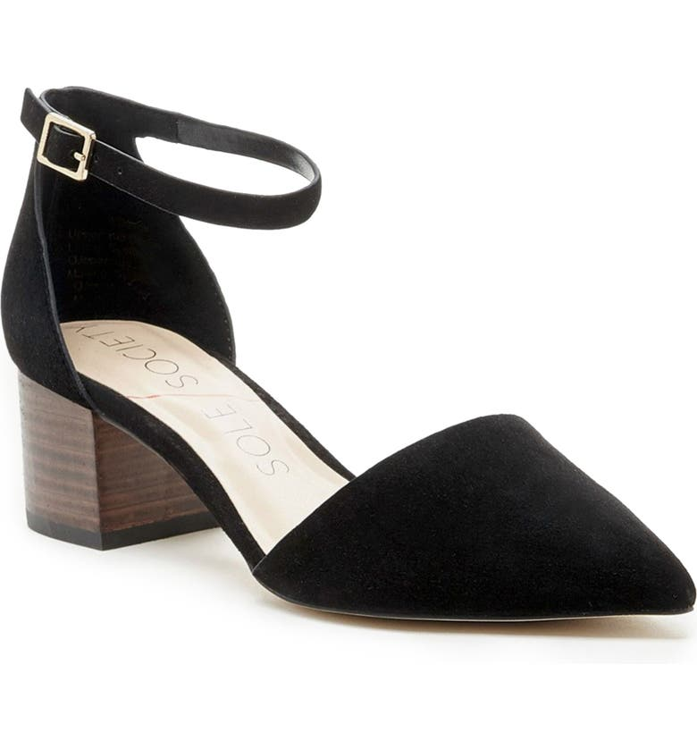 SOLE SOCIETY Katarina Ankle Strap Pump, Main, color, BLACK LEATHER