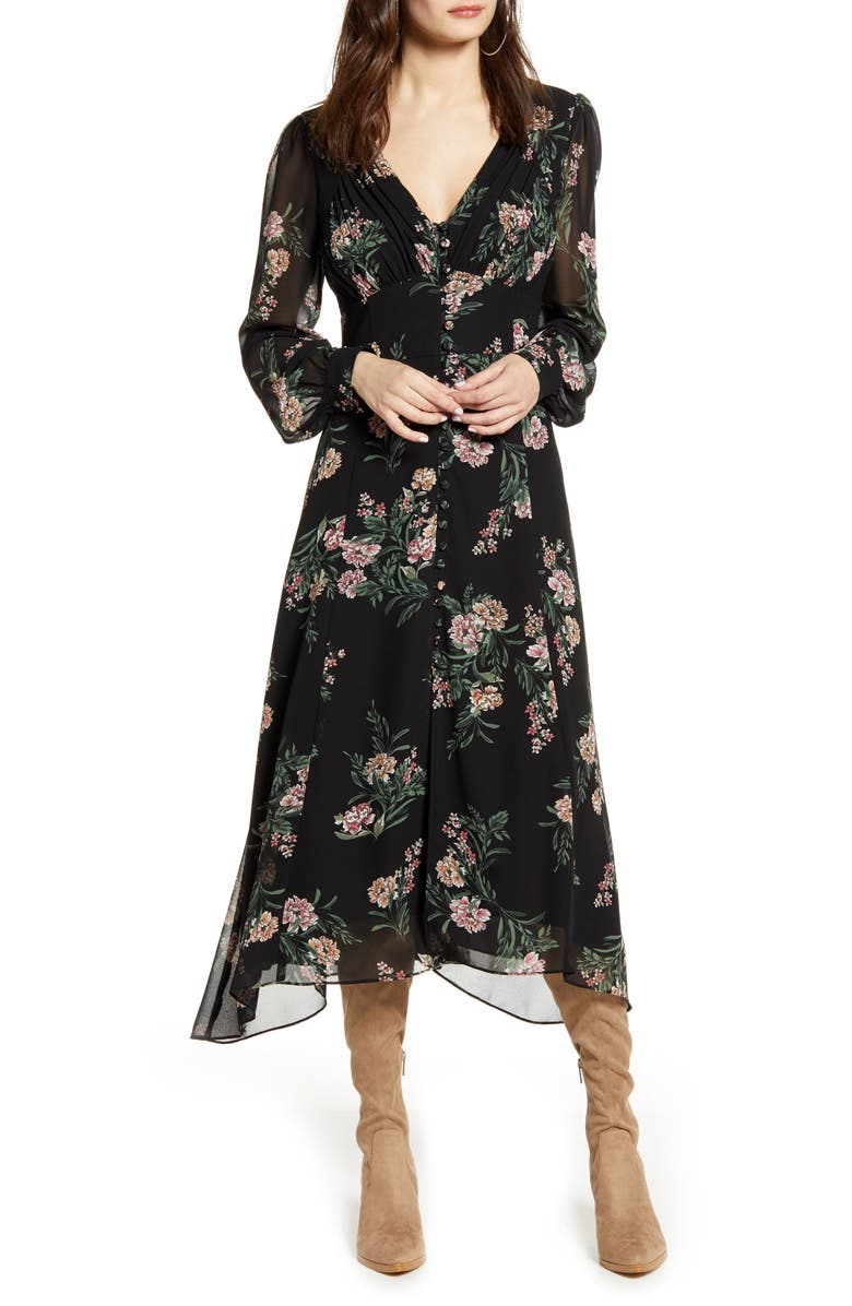 ASTR THE LABEL Floral Long Sleeve Midi Dress, Main, color, 001