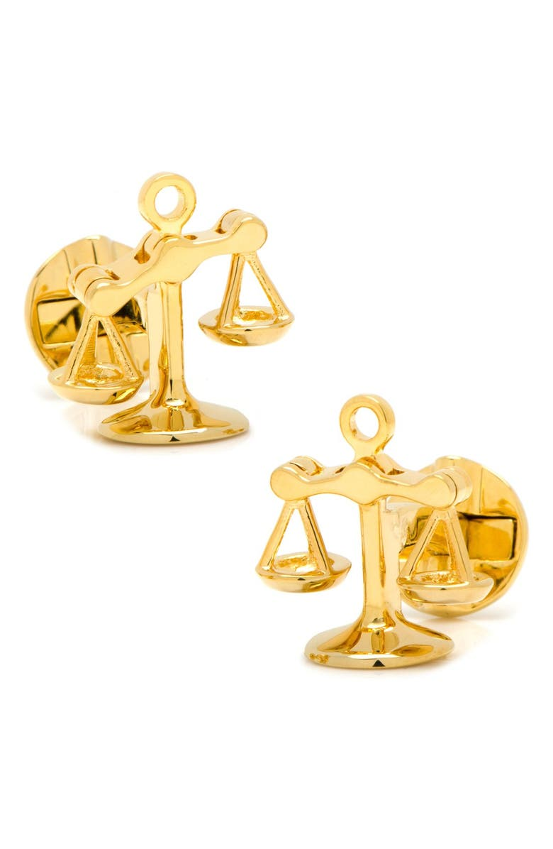 OX AND BULL TRADING CO. 'Scales of Justice' Cuff Links, Main, color, GOLD