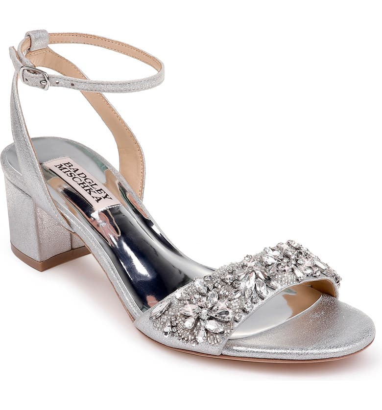 BADGLEY MISCHKA COLLECTION Badgley Mischka Ivanna Ankle Strap Sandal, Main, color, SILVER METALLIC SUEDE