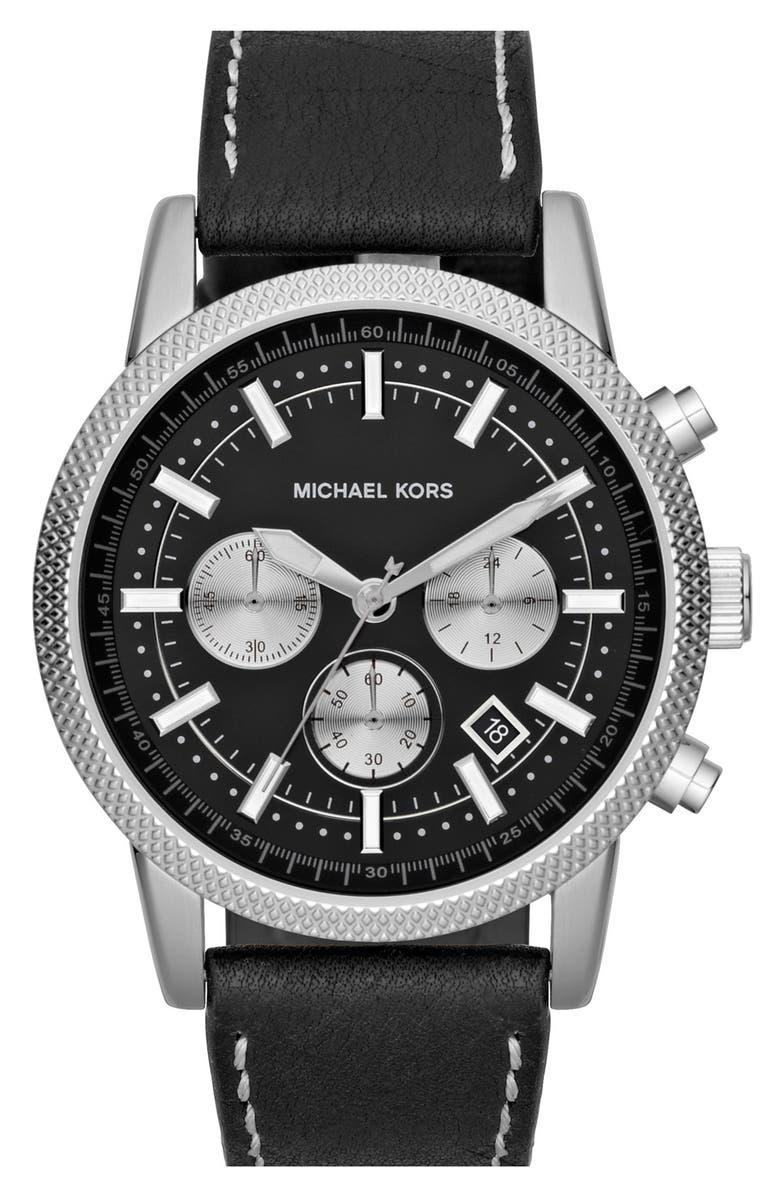 MICHAEL MICHAEL KORS Michael Kors 'Scout' Chronograph Leather Strap Watch, 43mm, Main, color, 001
