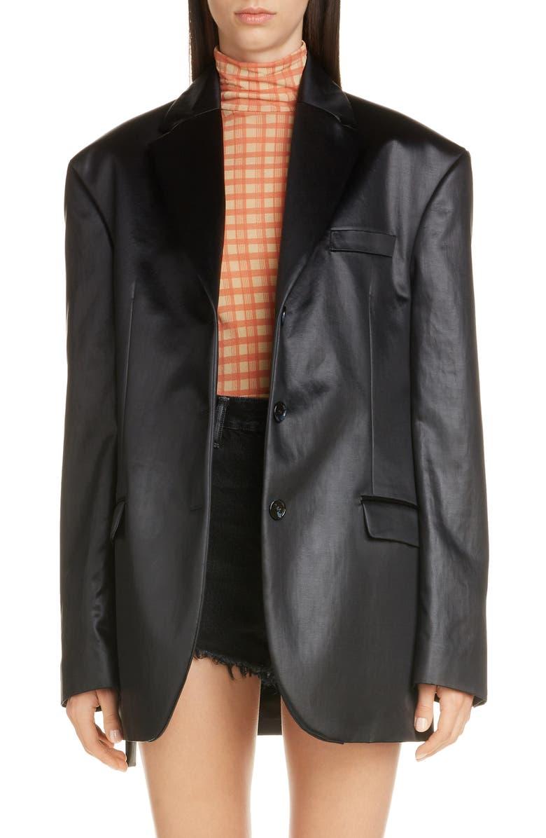 ACNE STUDIOS Jill Shiny Cotton Blend Blazer, Main, color, BLACK
