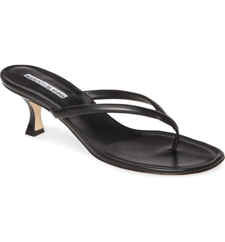 MANOLO BLAHNIK Manolo Blanik Paterno Thong Sandal, Main, color, BLACK LEATHER