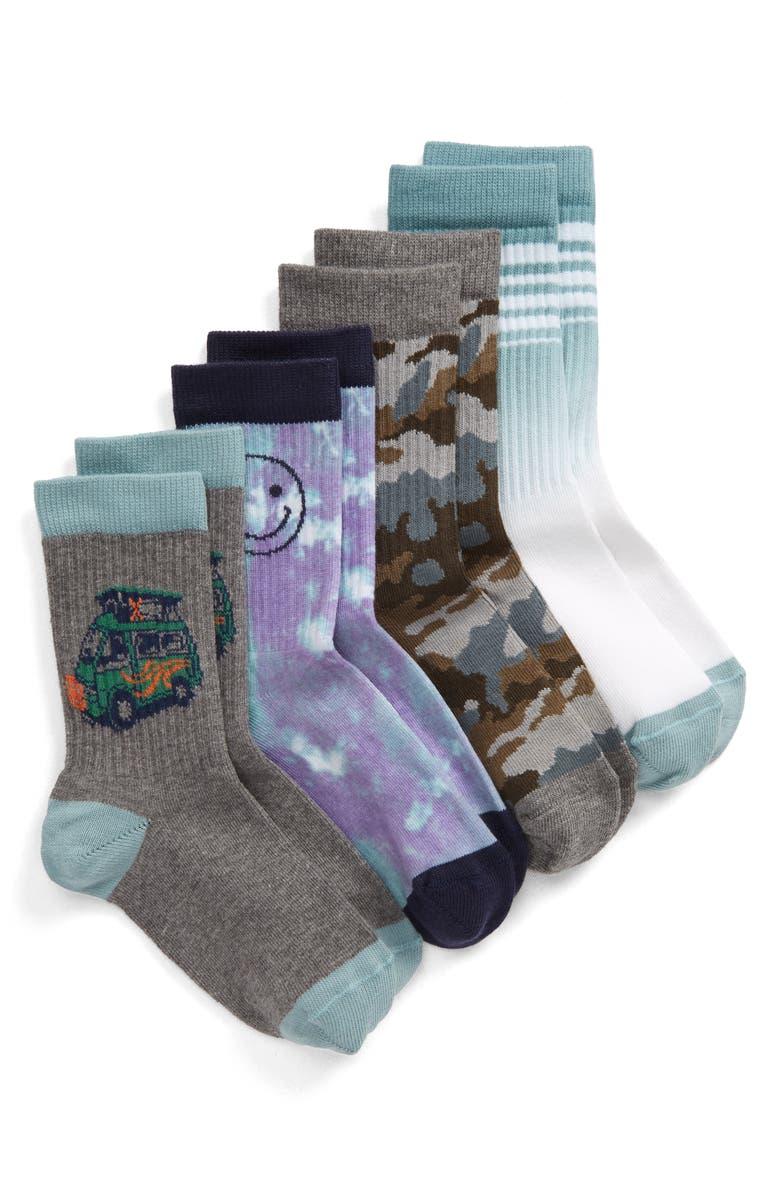 TUCKER + TATE Happy Camper Assorted 4-Pack Crew Socks, Main, color, GREY MEDIUM HEATHER MULTI
