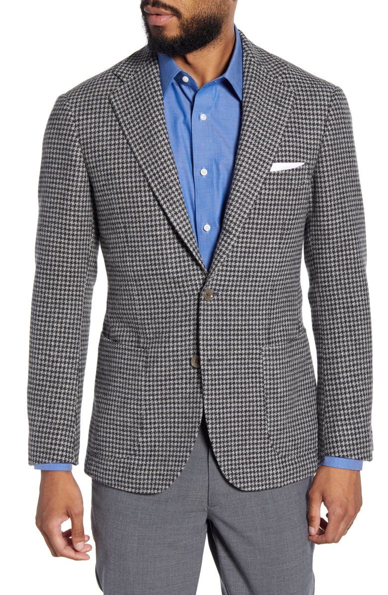 RING JACKET Trim Fit Houndstooth Check Wool Sport Coat, Main, color, GREY
