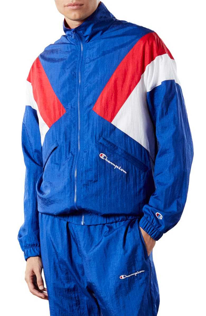 CHAMPION Nylon Warm-Up Jacket, Main, color, SURF THE WEB/ SCARLET/ WHITE