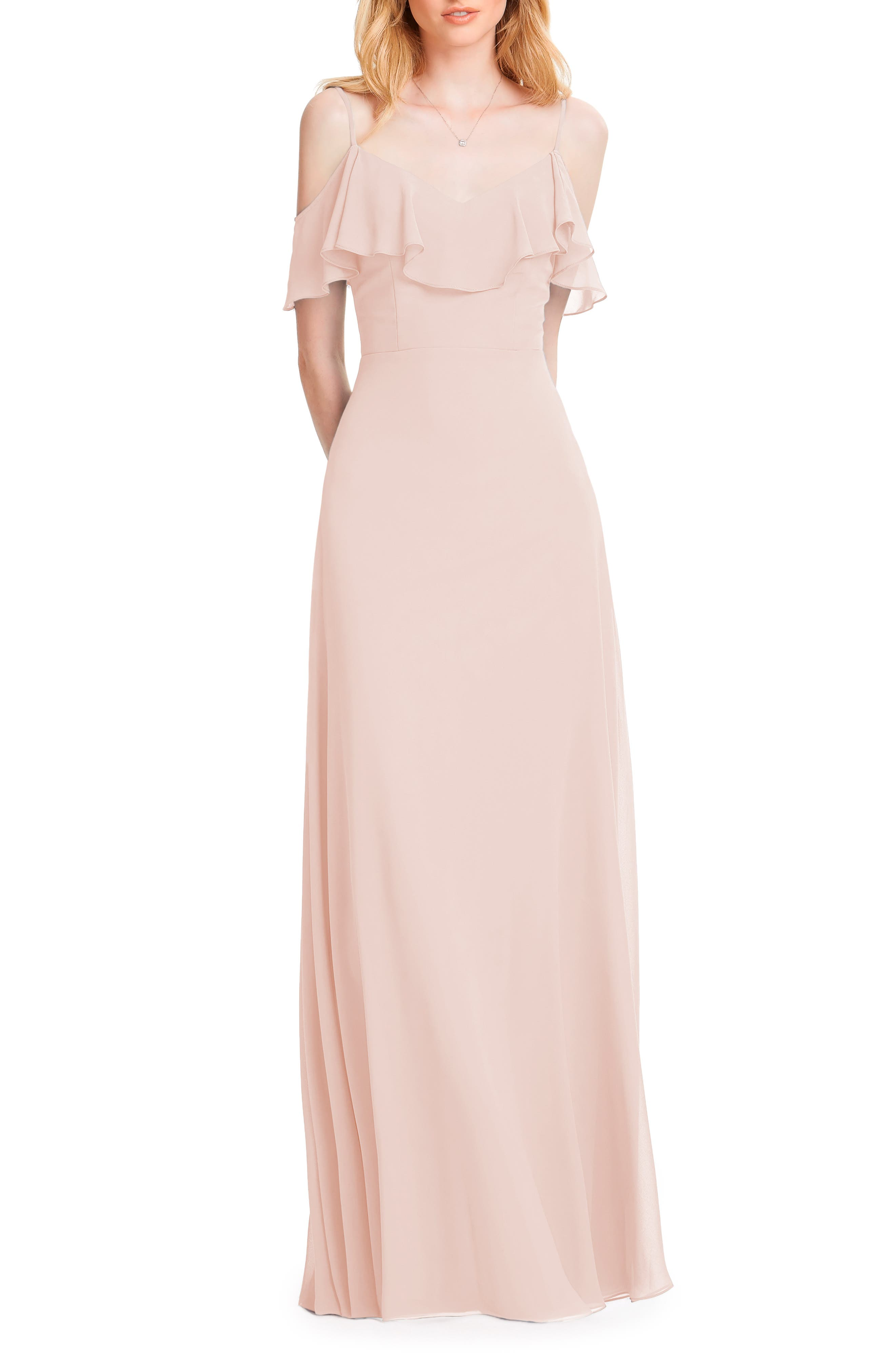#levkoff Ruffle Shoulder Chiffon Gown, Pink