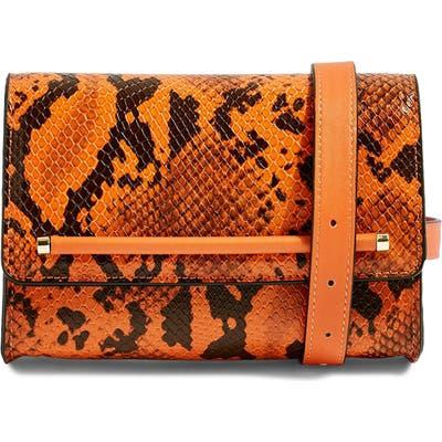 Topshop Blair Snake Embossed Faux Leather Belt Bag - Orange
