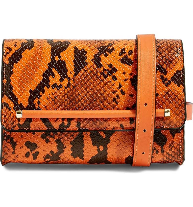 TOPSHOP Blair Snake Embossed Faux Leather Belt Bag, Main, color, 800