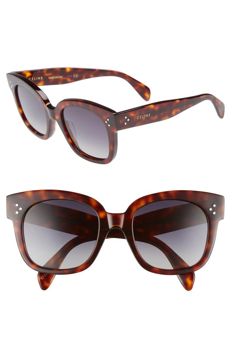 CELINE 54mm Square Sunglasses, Main, color, RED HAVAN/ SMOKE