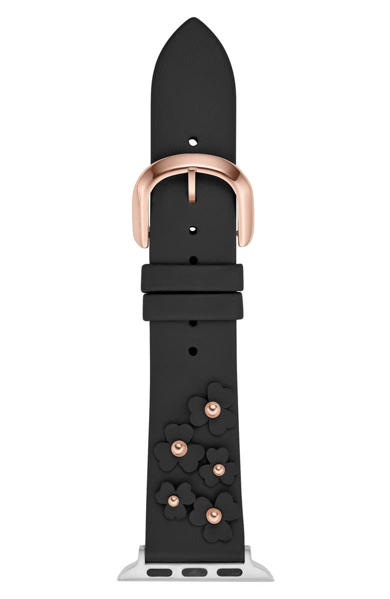 KATE SPADE NEW YORK floral appliqué Apple Watch<sup>®</sup> strap, Main, color, BLACK
