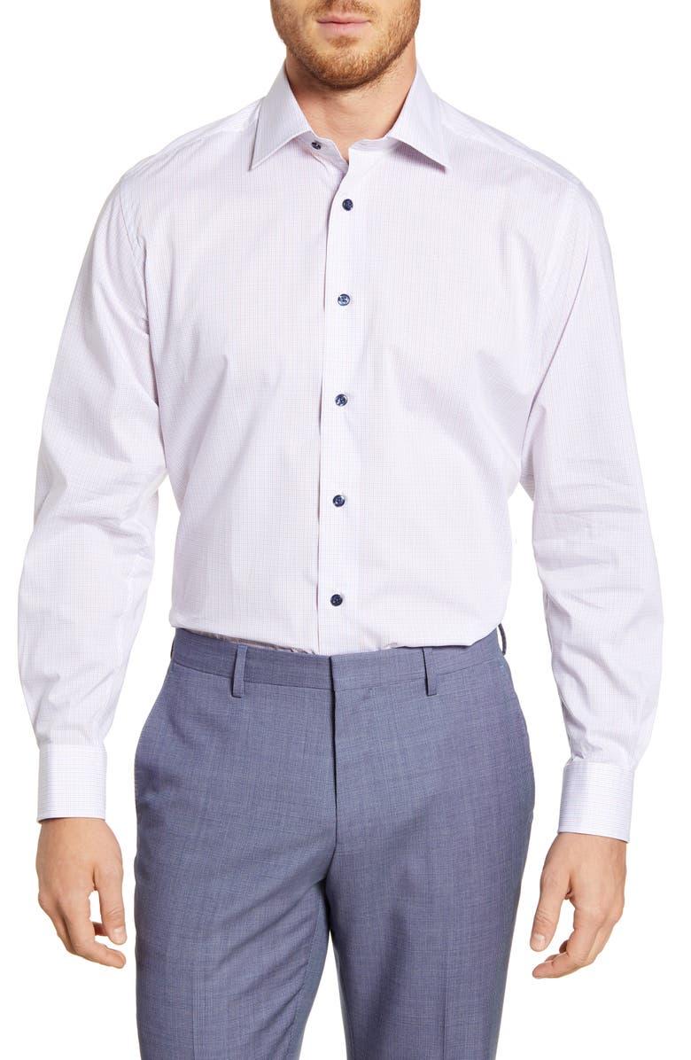 DAVID DONAHUE Regular Fit Check Dress Shirt, Main, color, BLUE/ RED