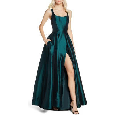 MAC Duggal Front Slit Ballgown With Train, Green