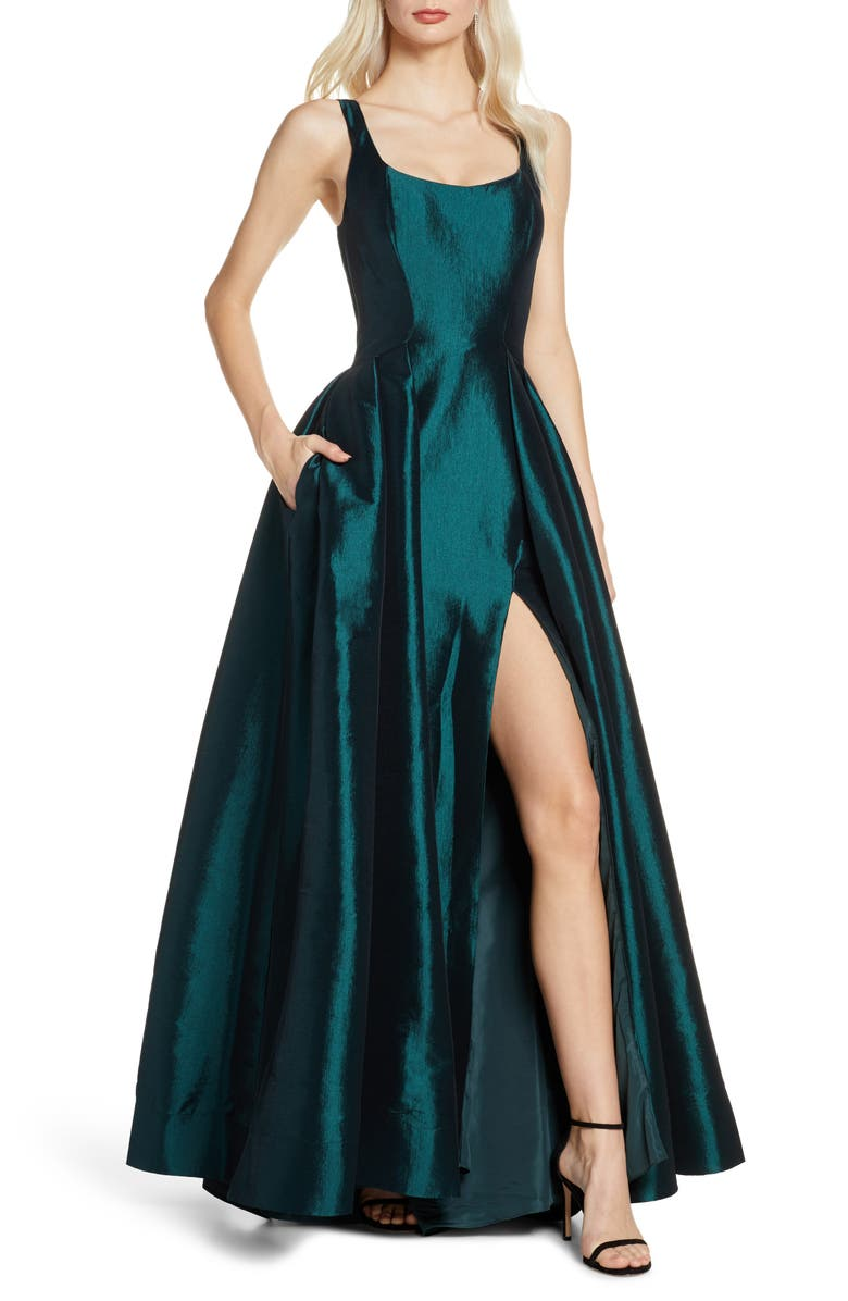 MAC DUGGAL Front Slit Ballgown with Train, Main, color, BOTTLE GREEN